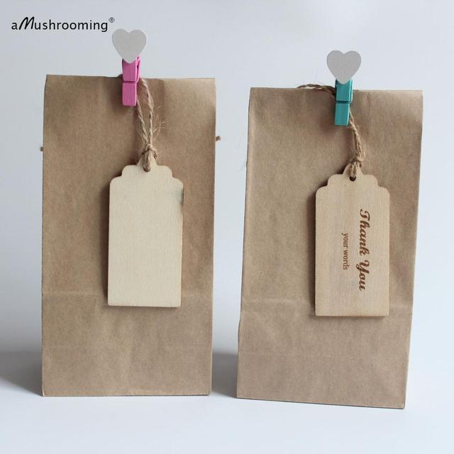 10 Sets Rustic Wedding Kraft Brown Paper Bags With Wooden Gift Tags Signs Small Party Favor