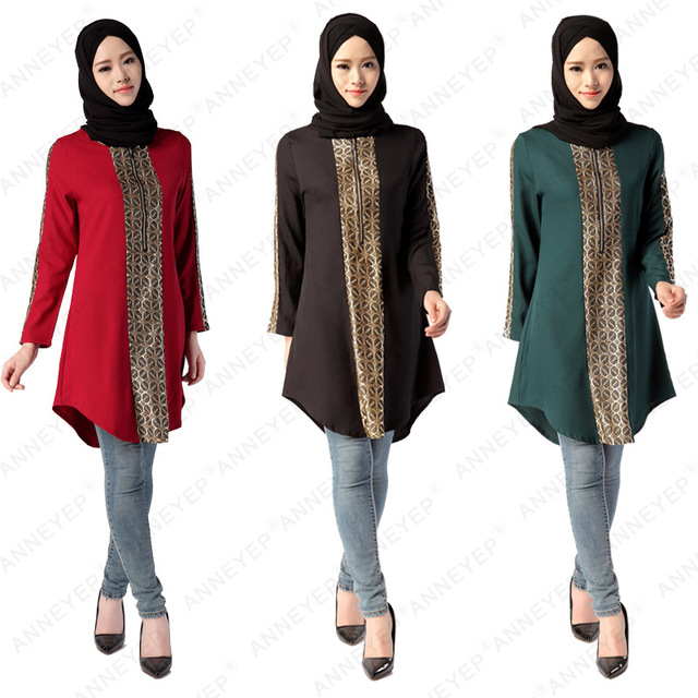 Plus Size Women Muslim Top Clothing Ic Worship Clothes Long Sleeve 3 Colors Shirt Ethnic