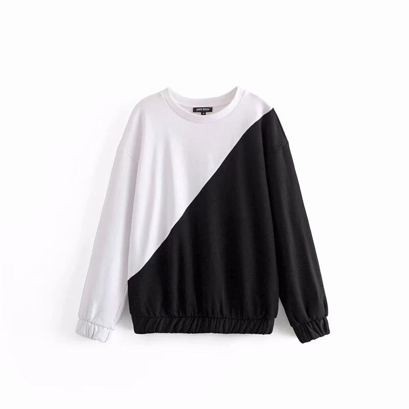 ASDS femmes blanc noir Patchwork surdimensionné Sweatshirts à manches longues O cou lâche pulls décontracté Chic tops basiques WWY54099