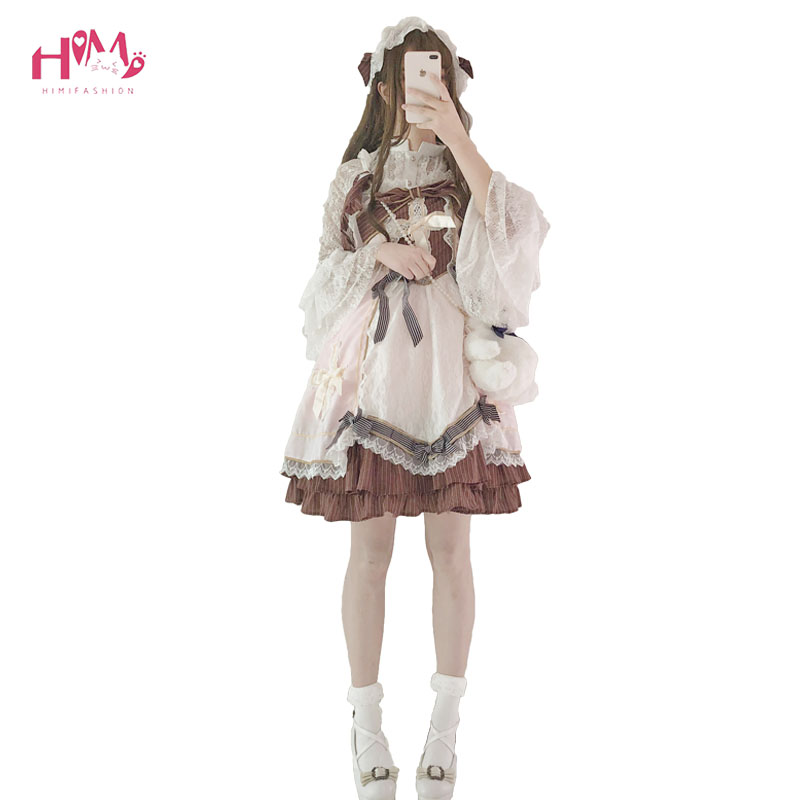 Summer Japanese Sweet Girl Christian Cross Vintage Dress Lolita Daily Cosplay Cute Wear Lace Bow Pleated
