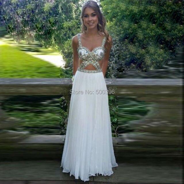 63bc2b15e7 Blanco de la gasa Backless vestido de fiesta 2016 plisado con cuentas  vestido Formal para el