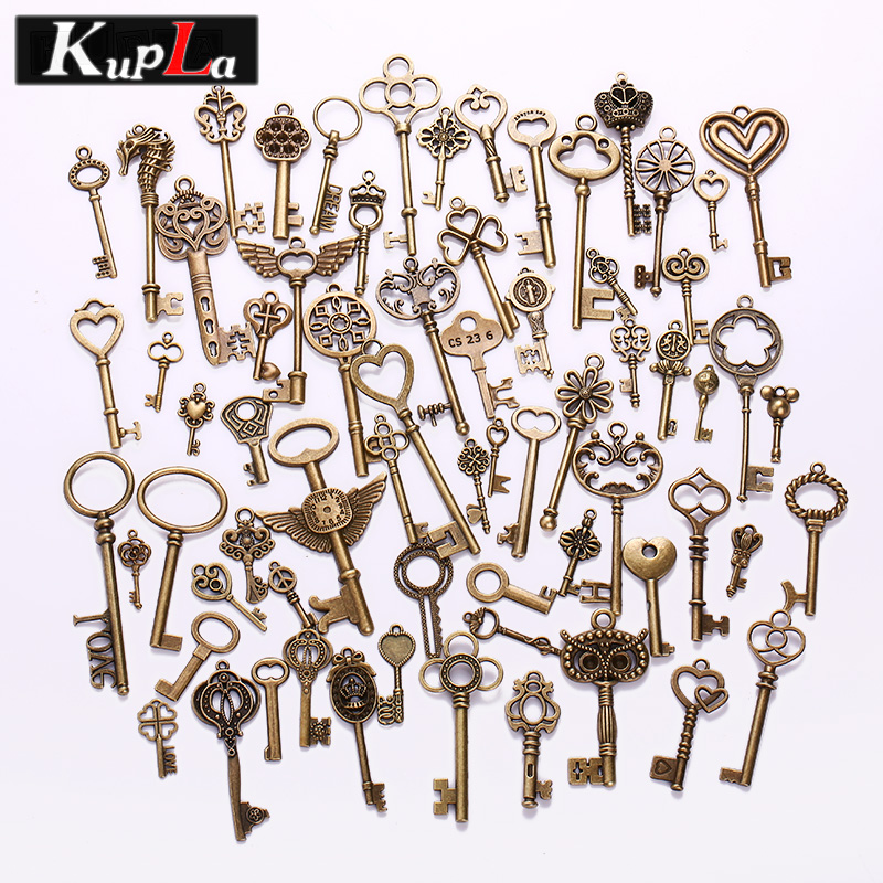 Vintage Brass Metal Mixed Each Different Key Charms Key Shape Pendant Charms DIY Handmad ...