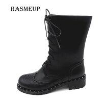 RASMEUP Women Rivet Motorcycle Boots Fashion Brogue Shoes Woman Winter Warm Plush Leather Lady Mid Calf