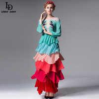 High Quality New 2016 Fashion Runway Maxi Dress Women S Long Sleeve Embroidery Beading Cute Colorful