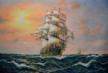 Hand Painted Modern Art Painting Sailing Ship Over Wavng Water Oil Canvas Painting Modern Wall Painting Pictures for Living Room