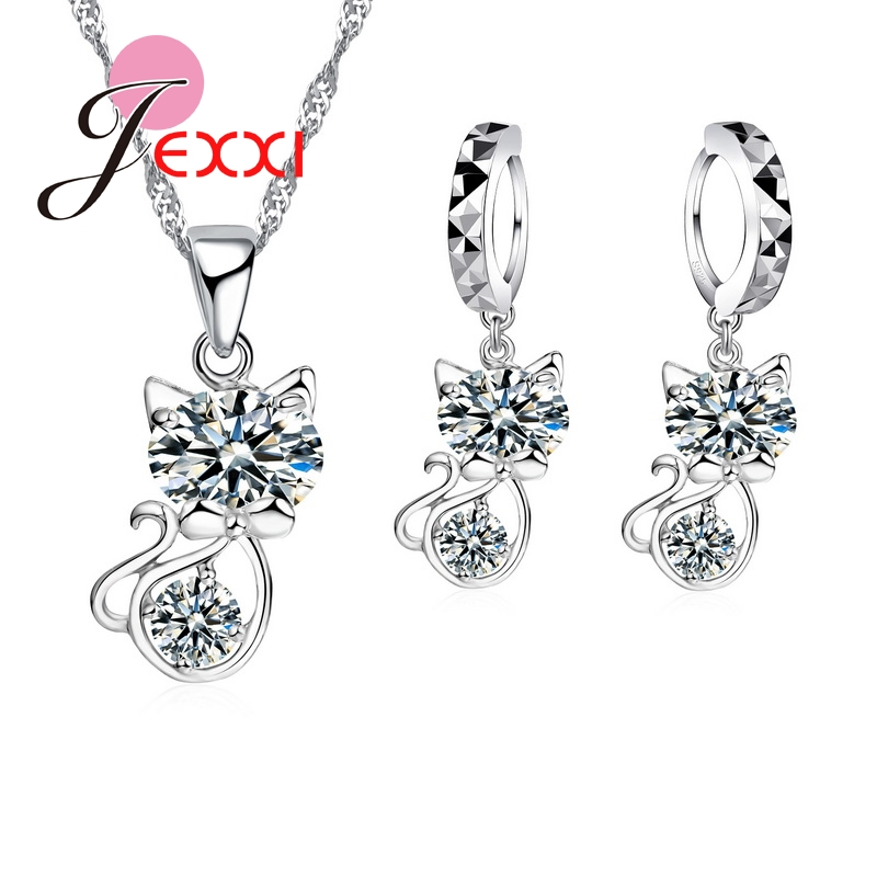 JEXXI 925 Sterling Silver Cubic Zirconia Wedding Jewelry Sets AAA CZ Crystal Cute Animal Cat Necklace Earrings Women Collar