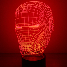 Iron Man Mask Lamp 3D LED Table Lamp USB Visual Luminaria Bedside Night Lights Sleeping Night Light Creative Great Gift For Kids creative 7 color horse head lamp 3d visual led night lights for kids touch usb table lampe baby sleeping night light