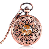 Antique Vintage Mechanical Pocket Watches Engraved Carving Mechanical Hand Wind Rose Copper Fob Watch For Men