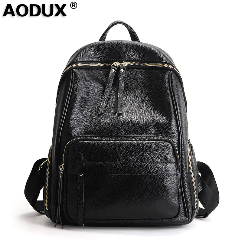 AODUX Large Size Genuine Leather Real Cowhide Women's School Backpack Top Layer Cow Leather Female Shoulder Bag Ladies Backpacks zency genuine leather backpacks female girls women backpack top layer cowhide school bag gray black pink purple black color