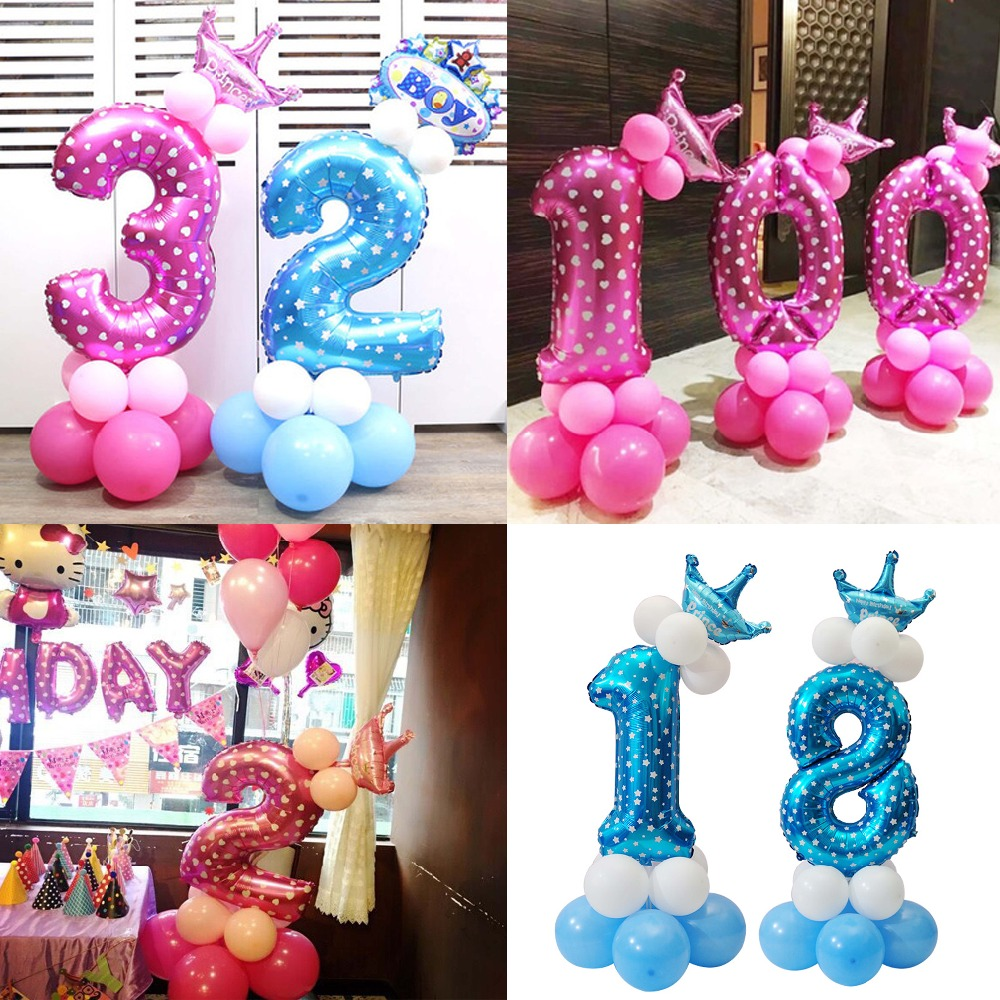 Detail Feedback Questions About PHLUMY Baby Shower 16pcs Foil 32inch Number Balloons Child 0 9 Year Old Birthday Party Wedding Decor Stand Upright Globos On