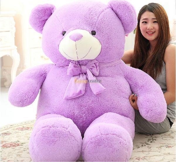 Fancytrader Прекрасный Лаванды Большой Жирный Фиолетовый Teddy Bear Гигантский Плюшевый Медведь Валентина Тедди 160 см 63 inch Бесплатная Доставка