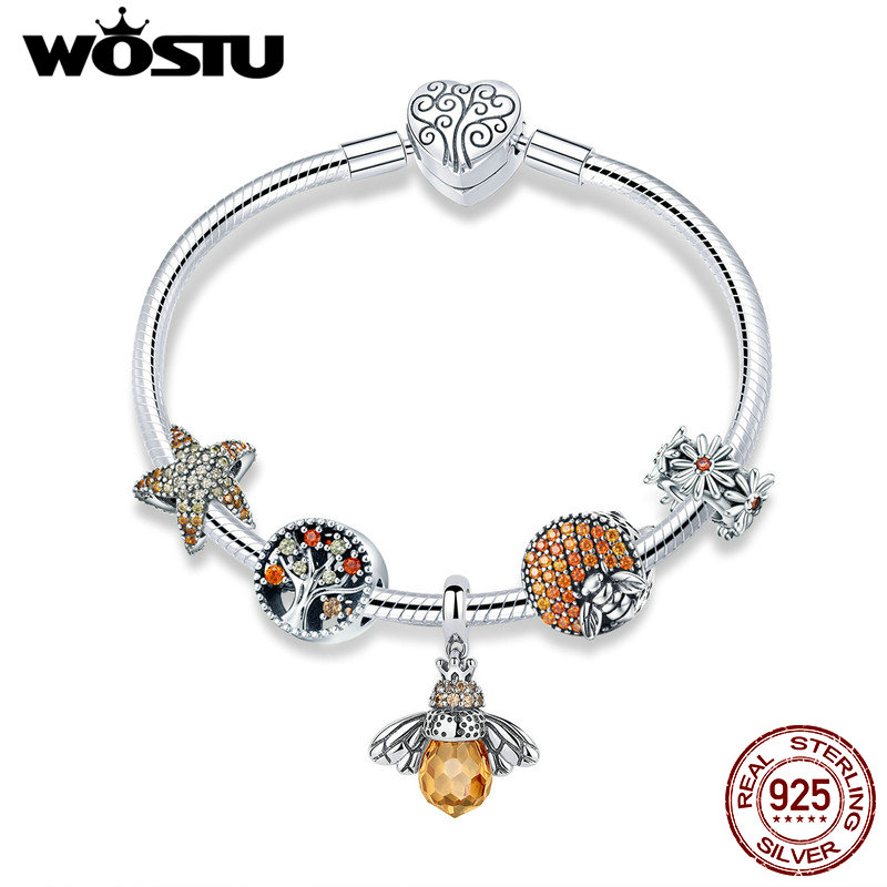WOSTU Original Real 925 Sterling Silver Bee & Daisy Yellow Style Charm Bracelet For Women S925 Silver Bead Jewelry Gift CQB805 rock style star bee heart faux crystal charm bracelet for women