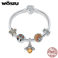 WOSTU Original Real 925 Sterling Silver Bee & Daisy Yellow Style Charm Bracelet For Women S925 Silver Bead Jewelry Gift CQB805