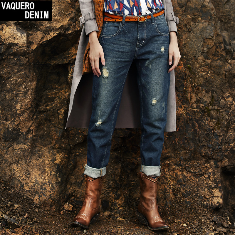 Boyfriend Jeans For Women 2017 Hot Sale Freeshipping Casual Mid Loose Ripped Hole Denim Harem Pants Ripped Woman Jeans C502