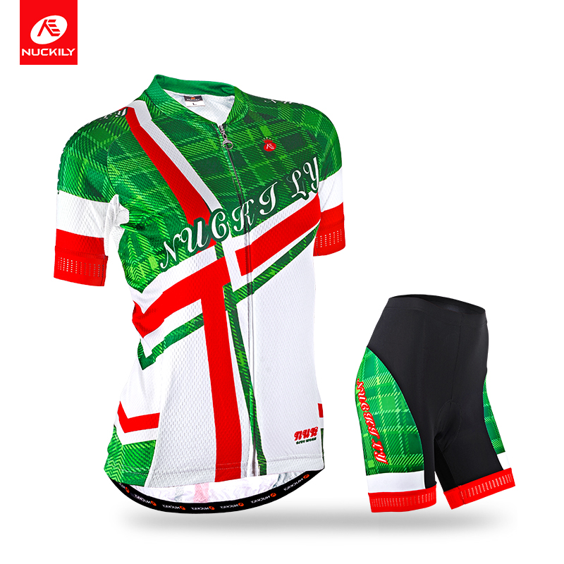 Nuckily Summer Women's new arrival sublimated popular short sleeve cycling jersey and bike short 2pcs set  GA007GB007 new wosawe brand new cool cycling jersey set short sleeve sportswear polyester summer bike cycling clothing ropa ciclismo fcfb