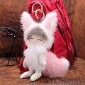 Real mink fur small fox bag Pom Pom Doll Ball pendant ornaments car key ring Charm