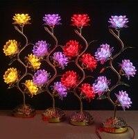 Comparar Lámpara de loto colorida Luz de noche ante el Buda para las lámparas de escritorio de