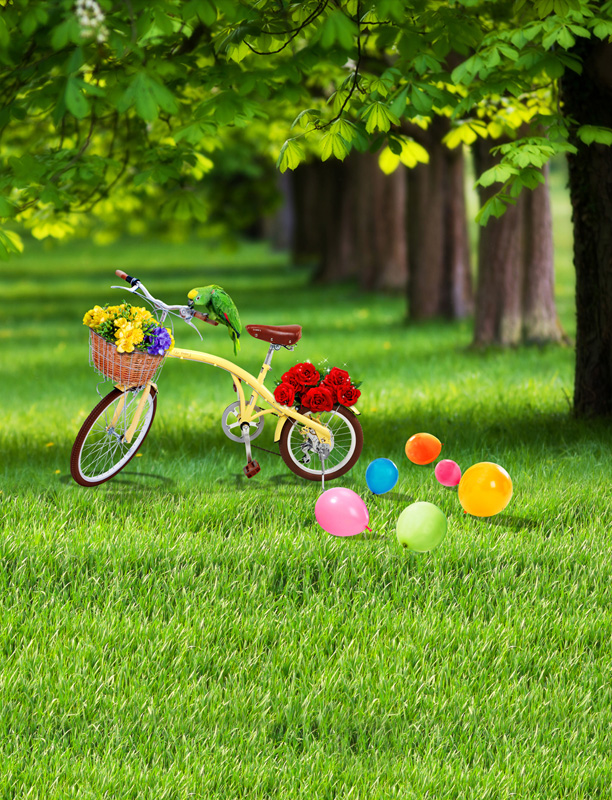 5x7ft Green Tree Path Park Grass Lawn Balloons Bicycle