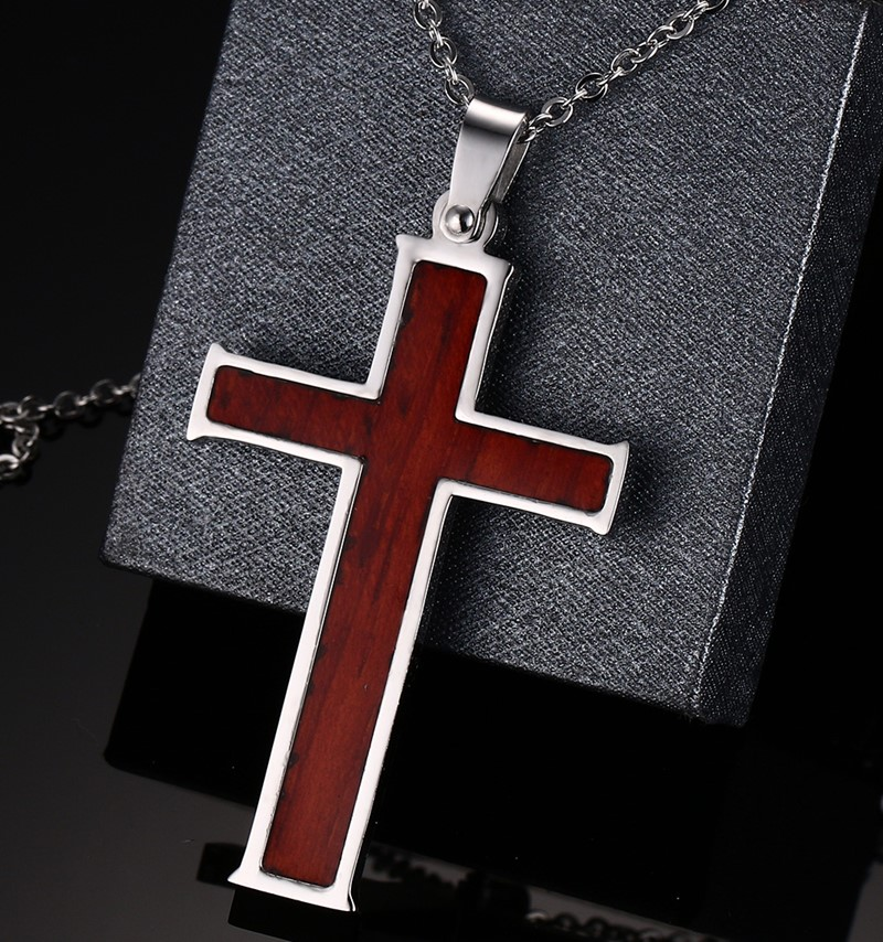Image 5 - Meaeguet Wood Inlay Christian Cross Pendant Stainless Steel Chain