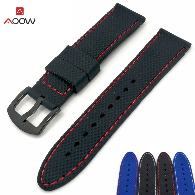 AOOW Silicone Rubber Sport Watch Band Mesh Pattern Universal Watchband Strap Wrist Belt Bracelet 18mm 20mm 22mm 24mm For Men