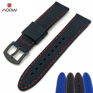 AOOW Silicone Rubber Sport Watch Band Mesh Watchband