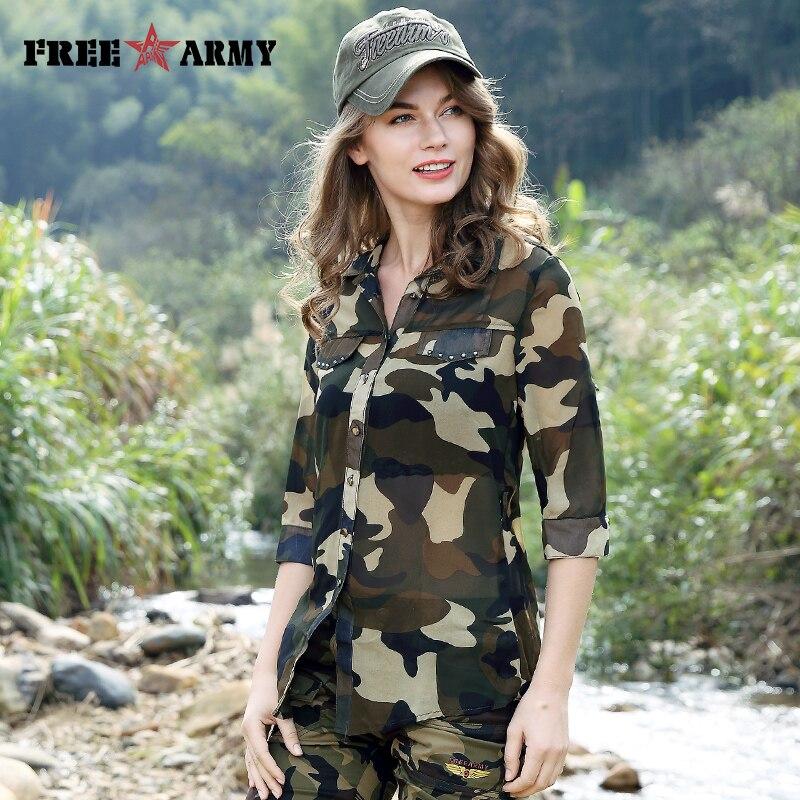 FreeArmy Brand Summer Women Tops Chiffon Blouse Shirts Tops Tee Camo Designer Fashion Casual Shirts Sexy Blouse Women's Clothing
