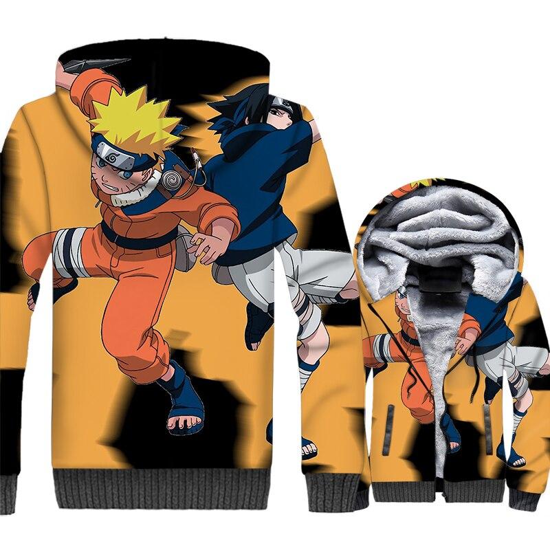 Naruto Uzumaki Gaara Men Jackets Anime 3D Hoodies Harajuku Sweatshirts 2018 Brand Winter Thick Fleece Zipper Ninja Hipster Coat