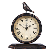 Vintage Cottage Metal Table Clock with Bird