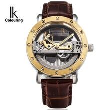 IK Fashion Skeleton Watch Luxury Automatic Mechanical Men Waterproof Casual Wristwatch Top Brand Leather Strap Clock Erkek Saat