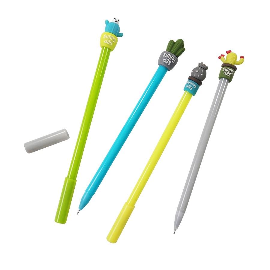 1pcs/lot Pineapple Cactus Panda Sunny Day Gelatin Pen Yellow 0.5mm Plants Black Ink School Supplies