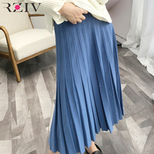 RZIV 2018 women knitted pleated skirt and solid color big swing high waist long skirt