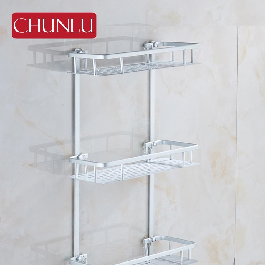 ⃝CHUNLU aluminio 3 capas de baño estantes bandeja jabonera ducha ...