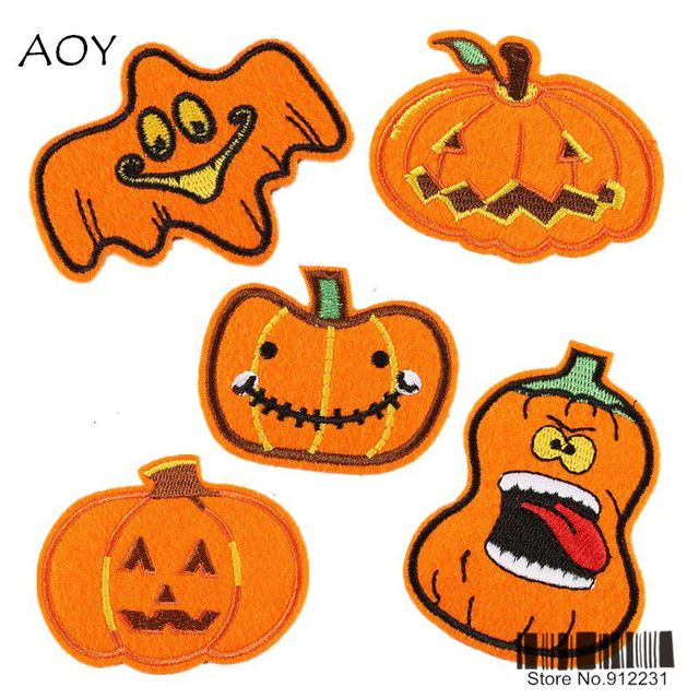 newest 5 styles funny halloween pumpkin patches for clothing iron on embroidered patch for kid applique