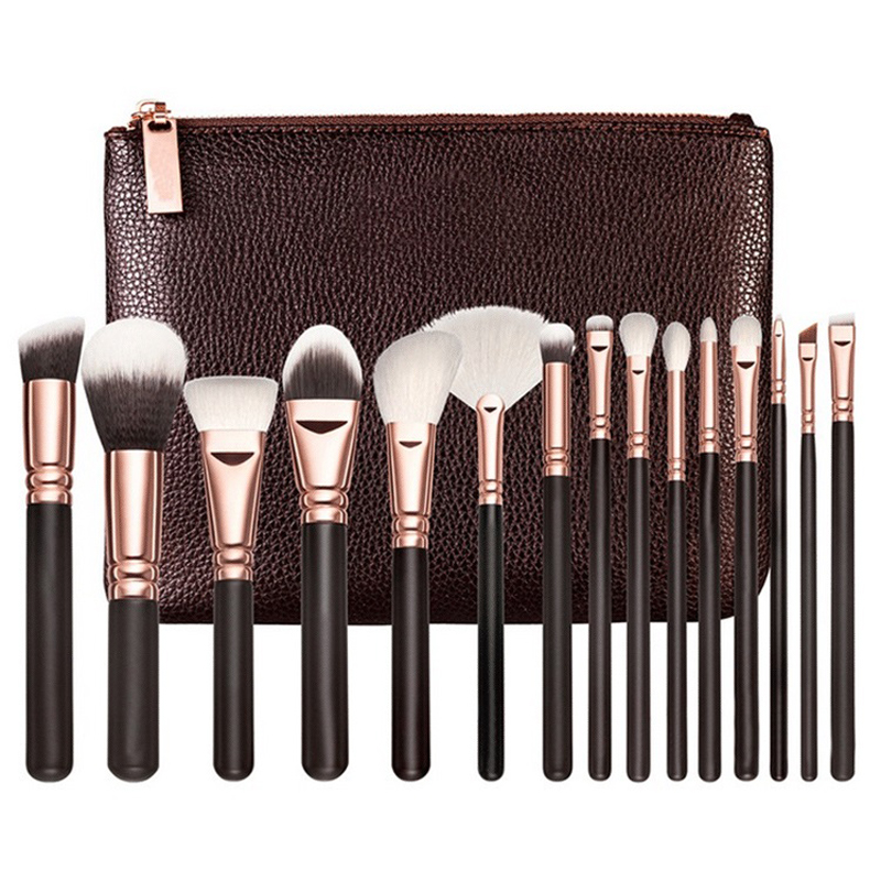 15cs Rose Golden Makeup Brush set Professional Foundation Powder Eyebrow Make Up Brushes Luxury Cosmetic Tools Kits (OS0620) 24pcs makeup brushes set cosmetic make up tools set fan foundation powder brush eyeliner brushes leather case with pink puff