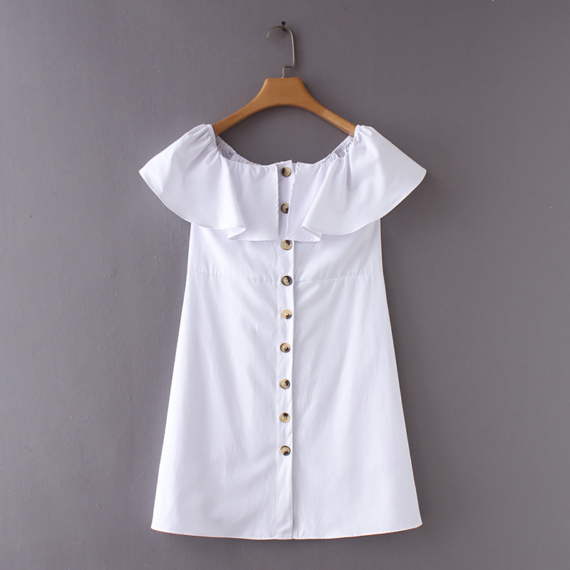 2018 women white mini <font><b>dress</b></font> Button Summer sexy Slash neck Cotton off shoulder side pockets Ruffles SML <font><b>oxford</b></font> Drop shipping