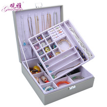 The concept of new double layers space jewelry box storage leather ring necklace