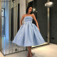 2019 Cheap Short Strapless Homecoming Dress A Line Knee Length Juniors Sweet 15 Graduation Cocktail Party Dress Plus Size