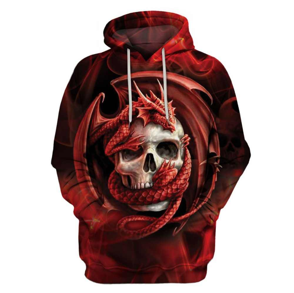 5324b3170171 Fashion Dragon And Skull Hooded Shirts Men Women Printed 3D Hoodies Casual  Graphic Hoodie Funny