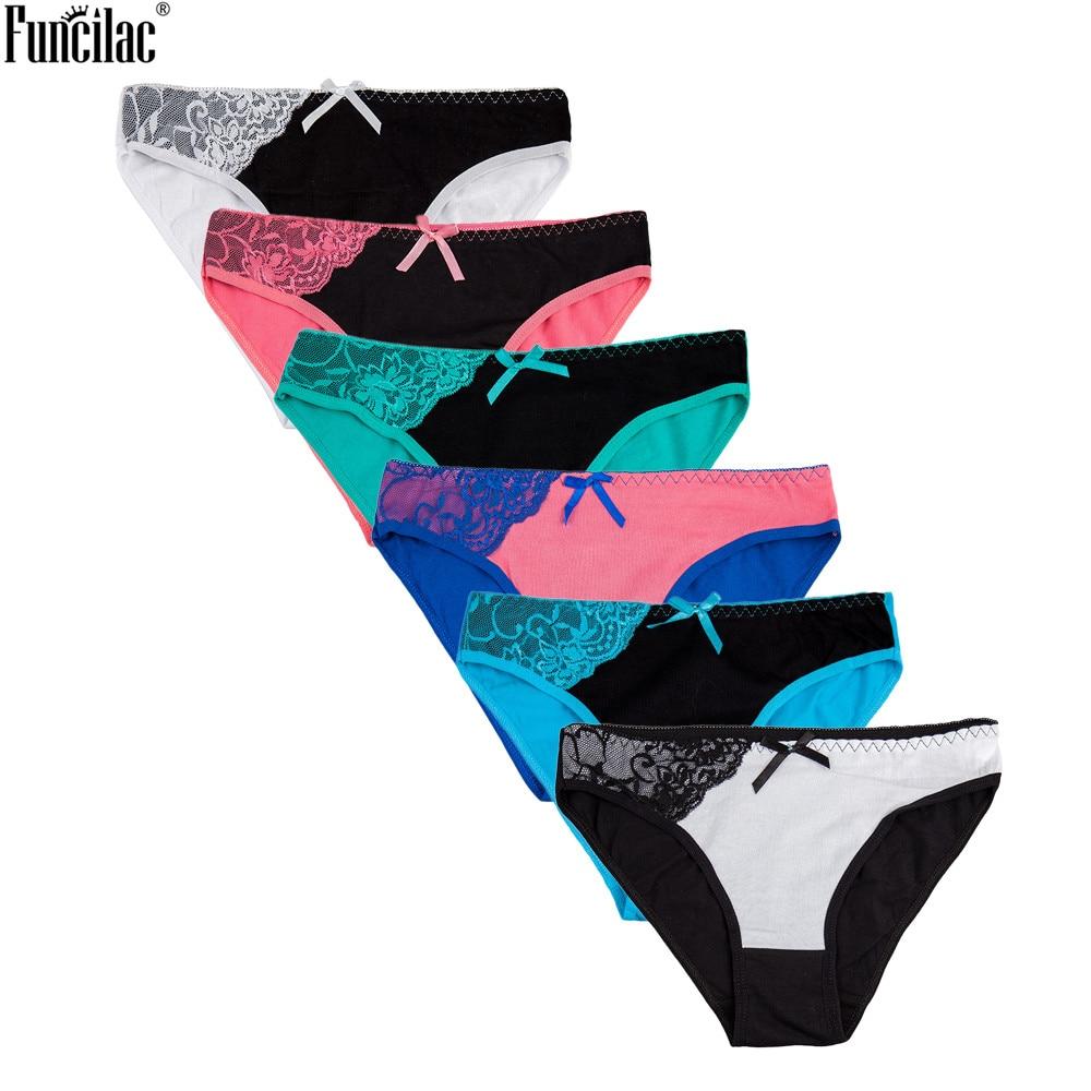FUNCILAC Underwear Women Cotton Sexy Lace Plus Size Transparent Seamless Women's Panties Patchwork Lingerie M L XL XXL  6pcs/lot