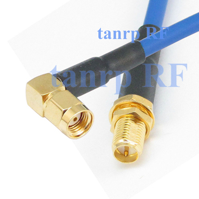 20inch RP SMA male right angle to RP SMA female RF adapter connector 50CM coaxial Flexible blue jacket jumper cable RG402 sma female to rp sma male right angle adapter connector