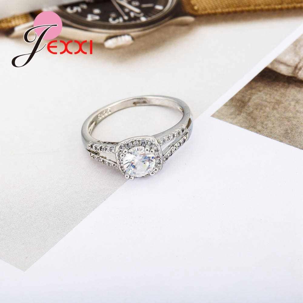 ใหม่มาถึง Shinning Cubic Zirconia งานแต่งงานแหวนเงิน 925 แหวนโปรโมชั่นใหญ่