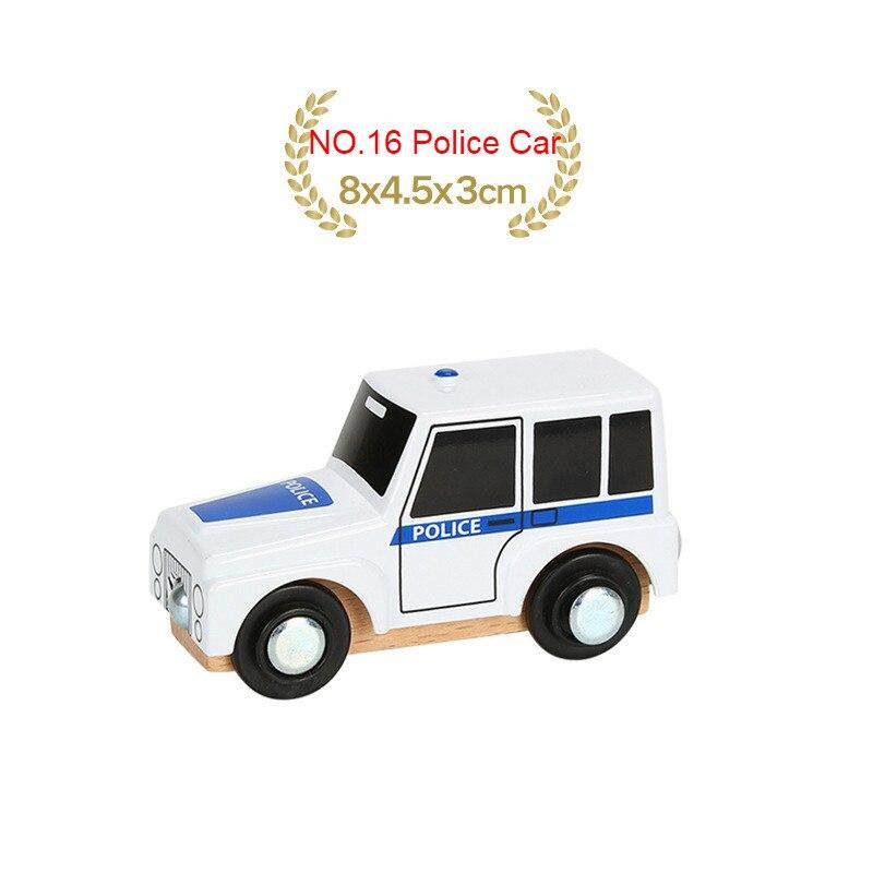 EDWONE деревянный магнитный Поезд Самолет деревянная железная дорога вертолет автомобиль грузовик аксессуары игрушка для детей подходит Дерево Biro треки подарки - Цвет: NO.16 Police Car