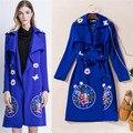 Длинные пальто женщины черный вышивка пальто длинный верхняя одежда для зимних осень отложным воротником рюшами элегантный пыли пальто синий