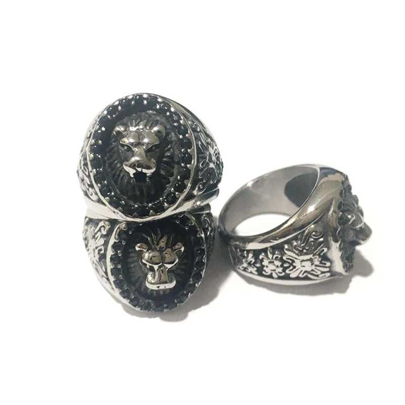 Kích thước 7-15 2018 mới nhất nhẫn đầu sư tử với tinh thể màu đen đá cuốn những người đàn ông bên ban nhạc động vật sư tử nhẫn cho nam giới phụ nữ