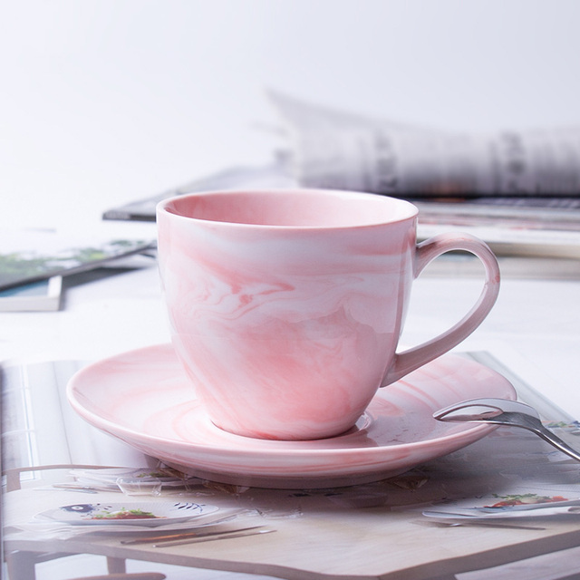 1 Pc Modern Minimalist Marbled Ceramic Coffee Cup Set Porcelain Tea Saucer For