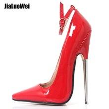 インチスティレットシャープ足足首ラップハイヒールスパイク金属ハイヒールボンデージ緊縛ゴム靴 18 7 センチメートル