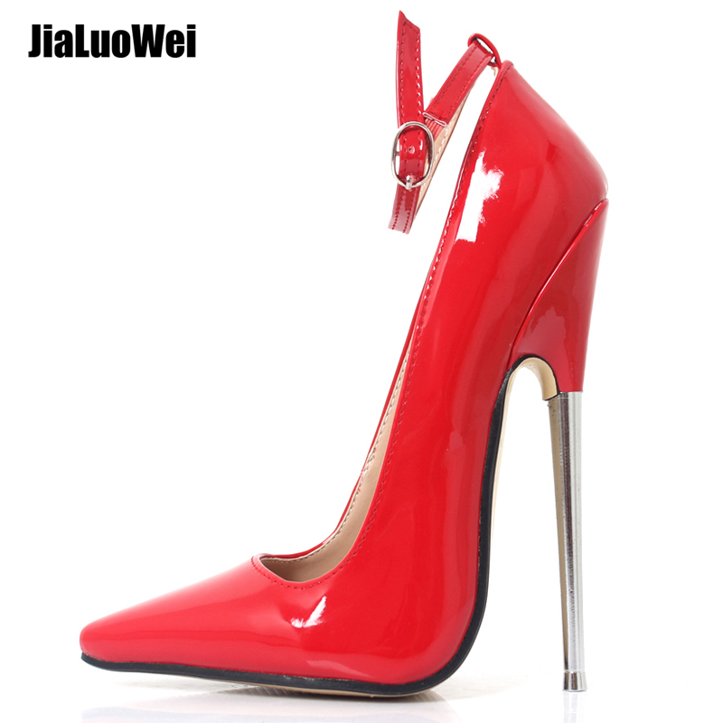 Fetish High Heels Women Pumps 18cm 7inch Stiletto Sharp Toe Ankle Wrap High Heel Spike Metal High Heel Bondage BDSM Rubber Shoes