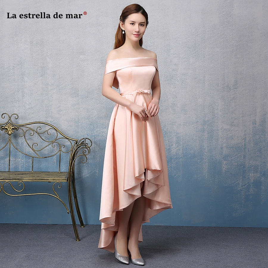 Sukienki damskie na wesele new satin Boat Neck short sleeved peach high low   bridesmaid     dresses   long plus size vestido madrinha