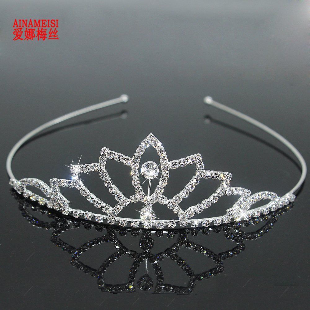 Fashion Wedding Party Princess Crown Rhinestone Hair Accessories For Girls Children Tiara Crown Silver Color Hair Jewelry