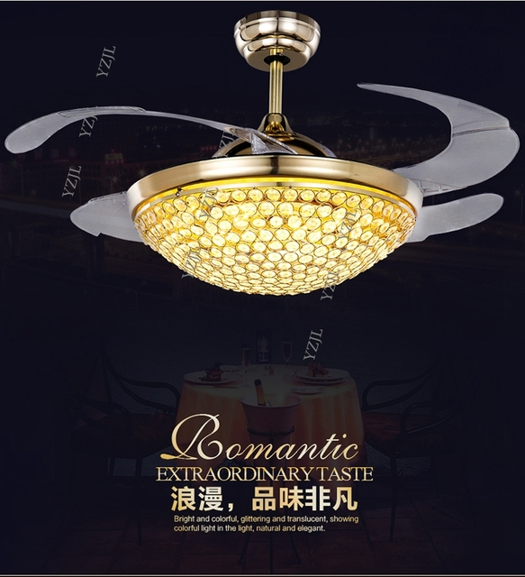 42inch Ceiling Fan With Remote Control Restaurant Crystal Lights LED Living Room Bedroom